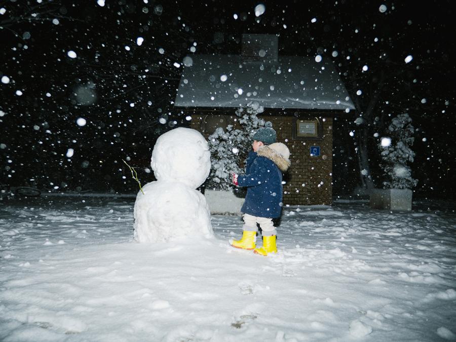 雪×クリップオンストロボ作例